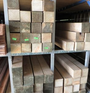 Treated Pine Rough Sawn Wet 100x100
