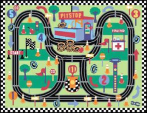 Kids Play Rug - 1200mm x 800mm - Race Track