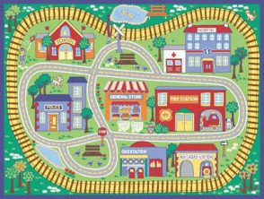 Kids Play Rug - 1200mm x 800mm - Rail Road
