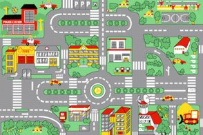 Kids Play Rug - 1200mm x 800mm - Town Centre