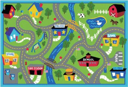 Kids Play Rug – 1200mm x 800mm – Roadways