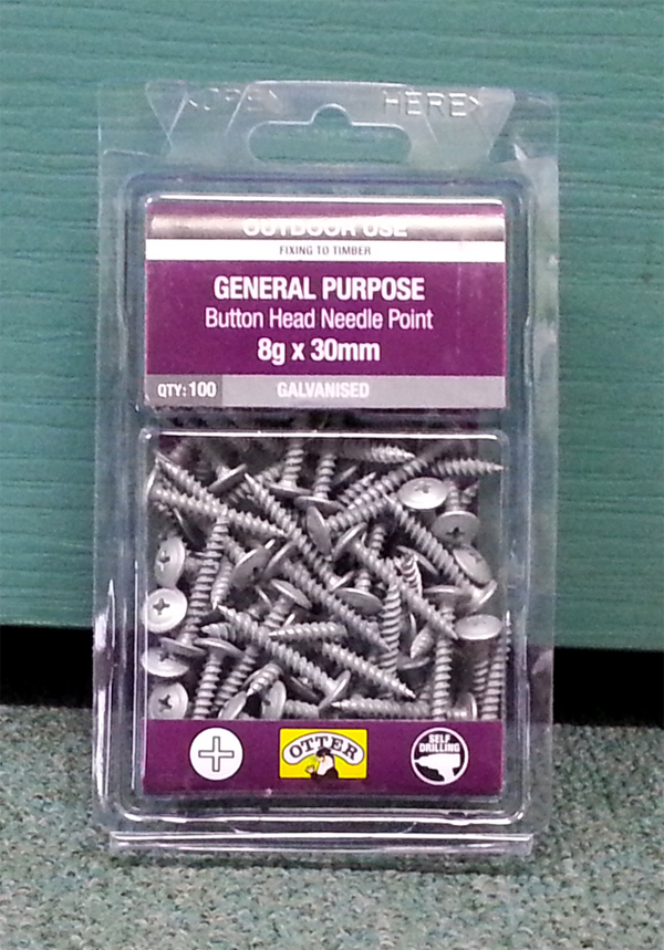 Gal Button Head Needle Point Timber Screws Philips 8g x 30mm Qty 100