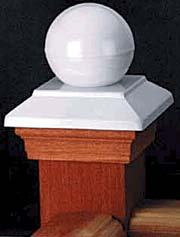 Post Cap Victoria White Copper Ball - Western Red Cedar - to suit 90-98mm Post