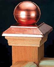 Post Cap Victoria Copper Ball - Cedar - suit 90-98mm Post