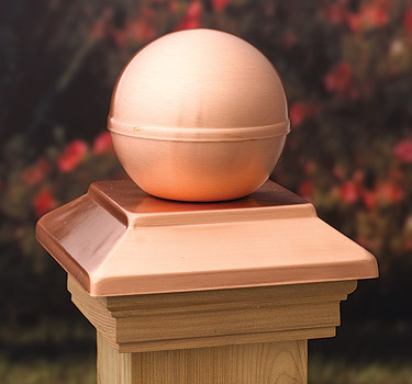 Post Cap Victoria Copper Ball – Cedar – suit 90-98mm Post