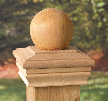 Post Cap Timber Ball - Western Red Cedar - to suit 90-98mm Post