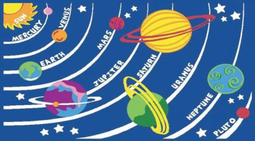 Kids Play Rug - 1000mm x 1500mm - Planets