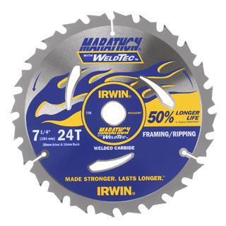 "Irwin Marathon Weldtec Circular Saw Blade  7¼"" 24 Teeth 184mm"