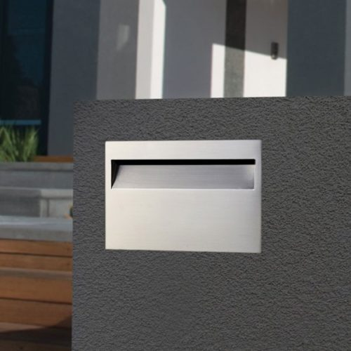 Stainless Steel Milano Brick In Rear Open Mailbox suits A4 - Includes Sleeve