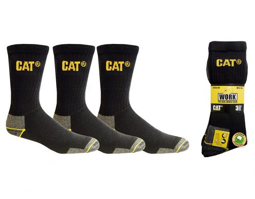 Cat 3 Pack Workwear Crew Sock - Black